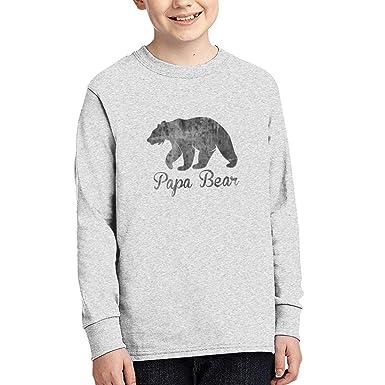 2da3d01e18 Amazon.com  Papa Bear Teens Tee Shirts Boys  Youth Tops Long Sleeve 100%  Coton Gray  Clothing