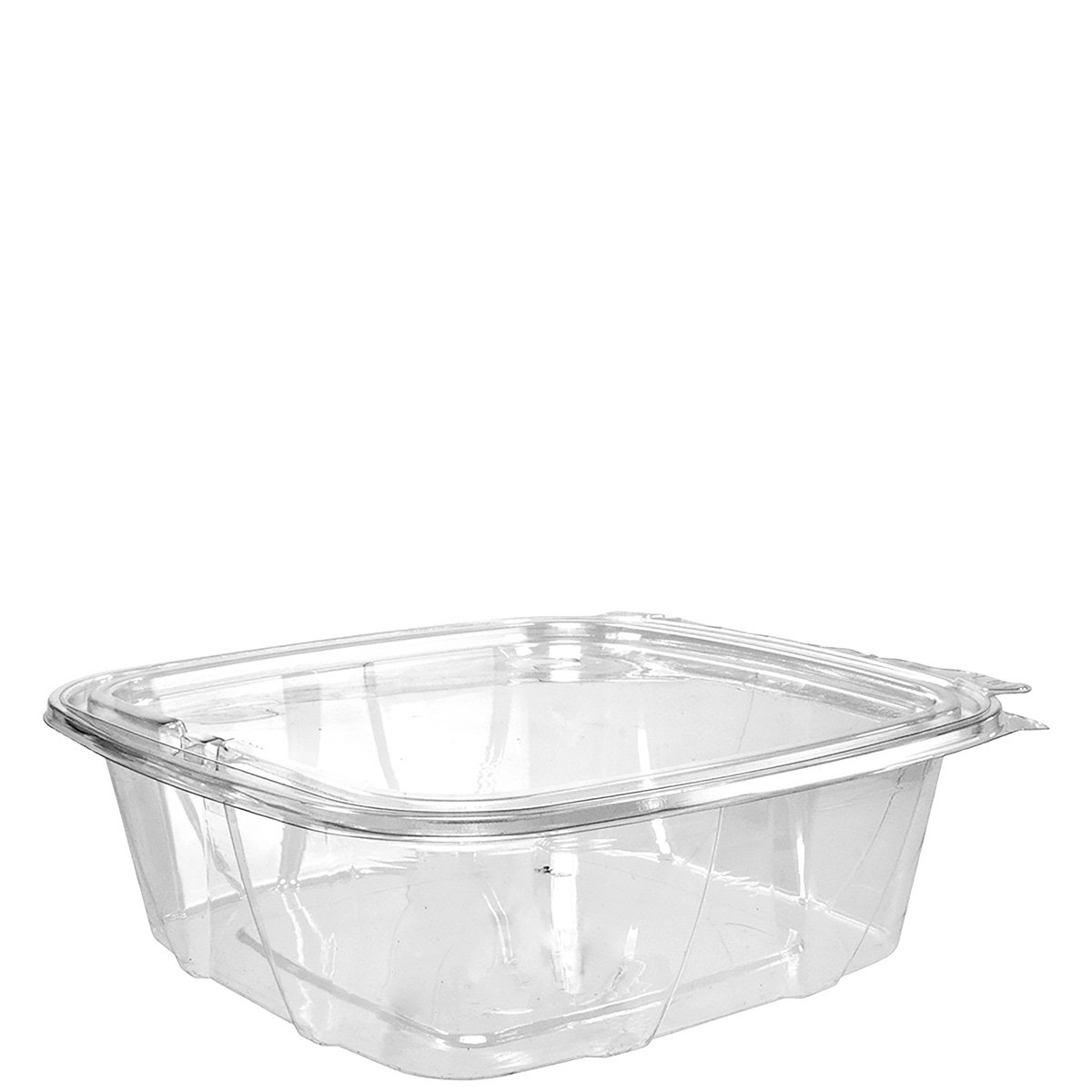 Dart CH48DEF 48 oz Tamper-Resistant Clear Hinged Container with Flat Lid (Case of 200) by Dart Solo