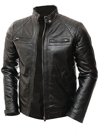 3f2b97df2ec3 Abbraci Men Moto Biker Vintage Shade Cafe Racer Quilted Motorcycle Padded  Shoulder Wax Real Lambskin Leather