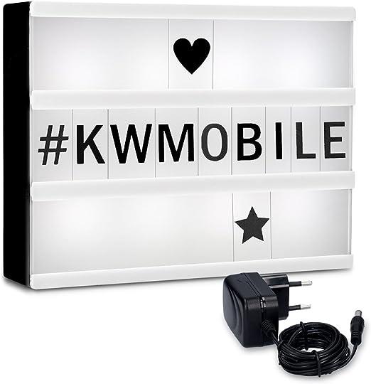 kwmobile Caja de luz LED A4 - Cartel de cine luminoso con 252 números letras e iconos - Fuente de alimentación incluida - Panel cinematográfico: Amazon.es: Iluminación