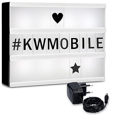 kwmobile Caja de luz LED A4 - Cartel de cine luminoso con 252 números letras e iconos - Fuente de alimentación incluida - Panel cinematográfico