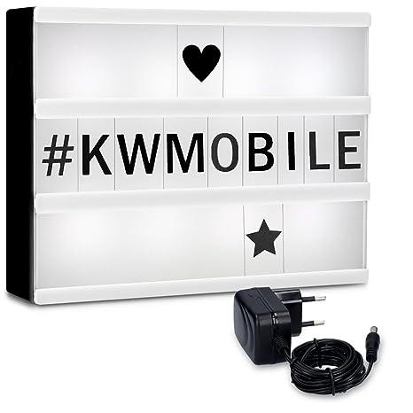 kwmobile Caja de luz LED A4 - Cartel de cine luminoso con 252 números letras e