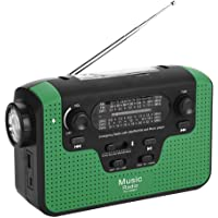 Portable Emergency Radio, FM/AM/SW Solar Powered Radio Hand Crank Phone Charger with LED Flashlight Function, Support TF…