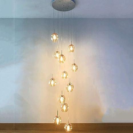 OOFAY Dúplex Escalera Lámpara Moderna Hollow Edificio Villa Gran lámpara de araña de Cristal Bolas de Luces Pendientes giratoria Escalera Larga de la lámpara de la lámpara, 12 Bolas, 50x250cm,a: Amazon.es: Deportes