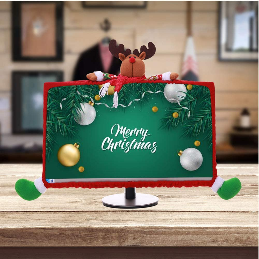 """ASFSKY Christmas Computer Monitor Cover 3D Decoration Computer Border Cover Dust Case for 19"""" - 27"""" Elastic Dustproof Christmas Decor New Year Home Office Decorations (19""""-27"""" Deer)"""