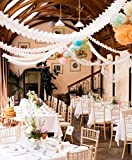Hanging Garland, Pack of 8 White Four-Leaf Clover Tissue Paper Garland, Party Streamers for Party Backdrop Party Decorations, 11 Feet/3M per Each (White)