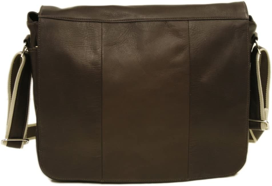 Piel Leather Expandable Messenger Bag, Chocolate, One Size