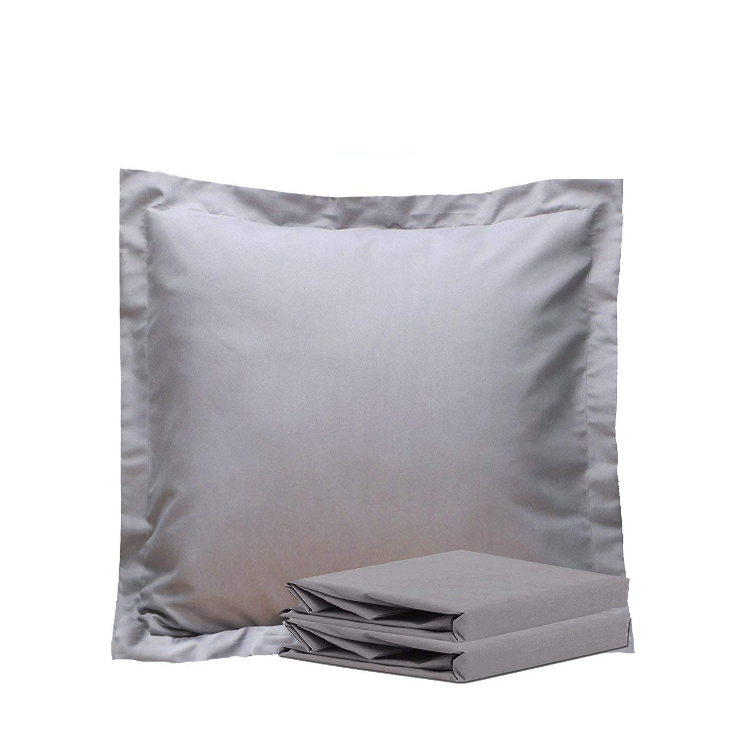 NTBAY 100% Brushed Microfiber Throw Pillow Cushion Cover Set of 2, Euro Pillow Shams, Soft and Cozy, Wrinkle, Fade, Stain Resistant (Euro 26''x26'', Smoky Grey)
