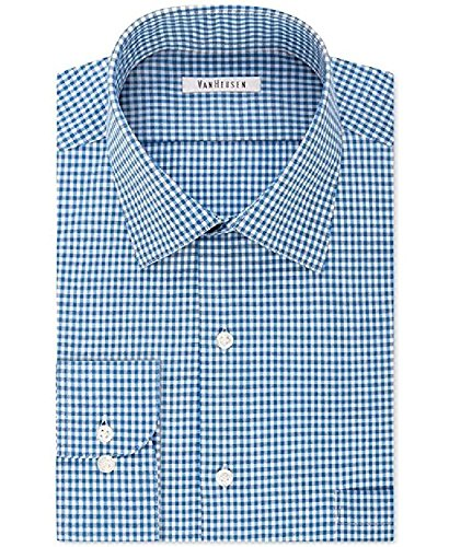 Van Heusen Men's Big & Tall Classic-Fit Ocean Mist Check-Pattern Dress Shirt Size 22