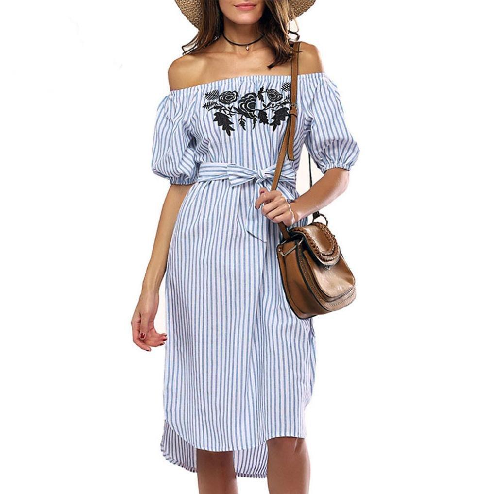 b3507dbe2e9 Top3  Women Off Shoulder Dress Tied Waist Striped Beach Short Sleeve  Sundress Zulmaliu