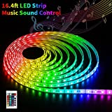 SOLMORE LED Strip Lights Sync to Music 16.4Ft/5M RGB Led Lights Kit SMD5050 300 LED Strip Remote Control Waterproof Led Lights Strip Rope Lights with 12V 5A Power for Home Party Bar Wedding