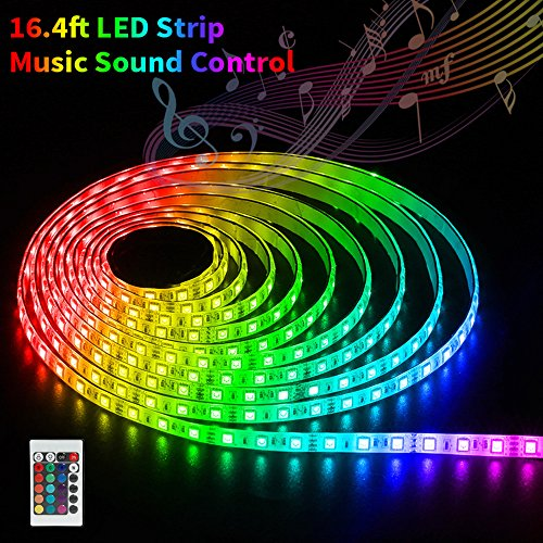 SOLMORE LED Strip Lights Sync to Music 16.4Ft/5M RGB Led Lights Kit SMD5050 300 LED Strip Remote Control Waterproof Led Lights Strip Rope Lights with 12V 5A Power for Home Party Bar Wedding ()