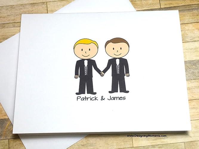 Amazon Com Same Sex Wedding Thank You Card Set Personalized Tuxedo