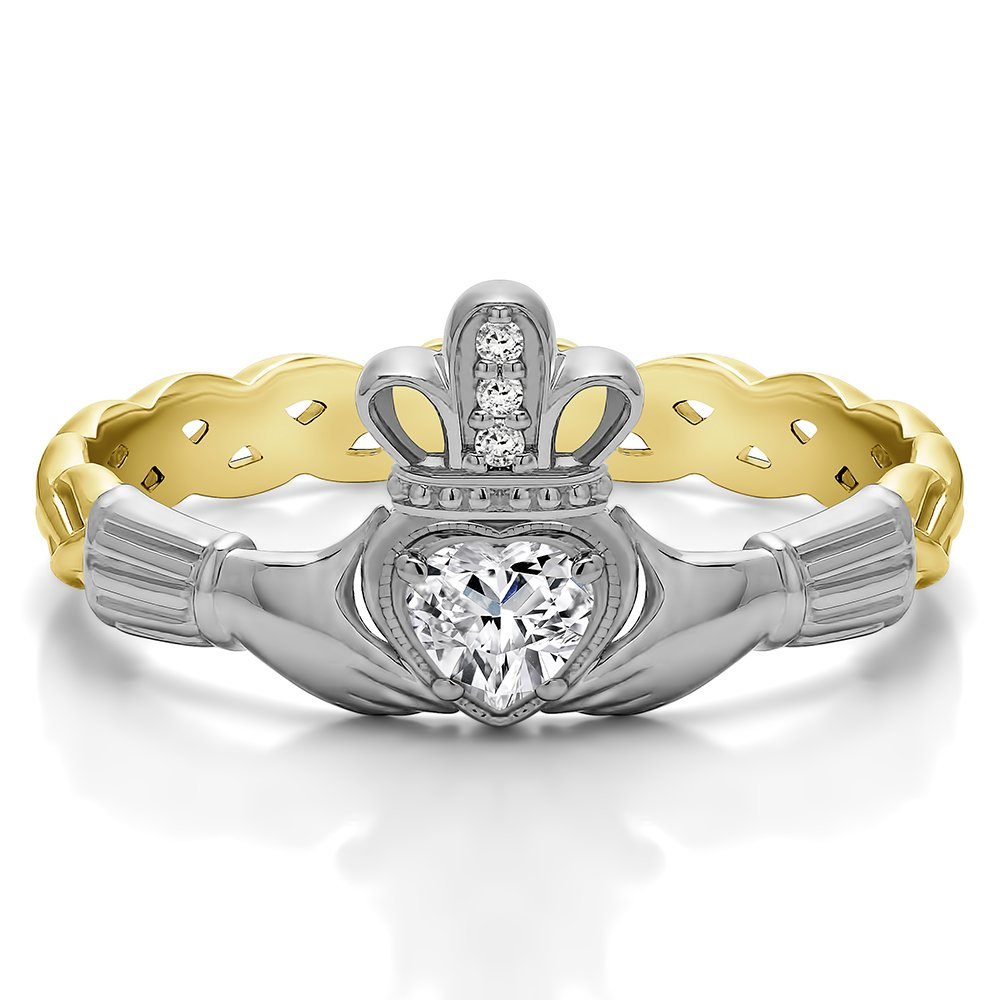 Amazon Com 0 27ct Celtic Claddagh Wedding Ring Heart Shaped Center