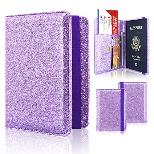 Passport Holder Cover, ACdream Travel Leather RFID Blocking Case Wallet for Passport with Elastic Band Closure, Purple Glitter
