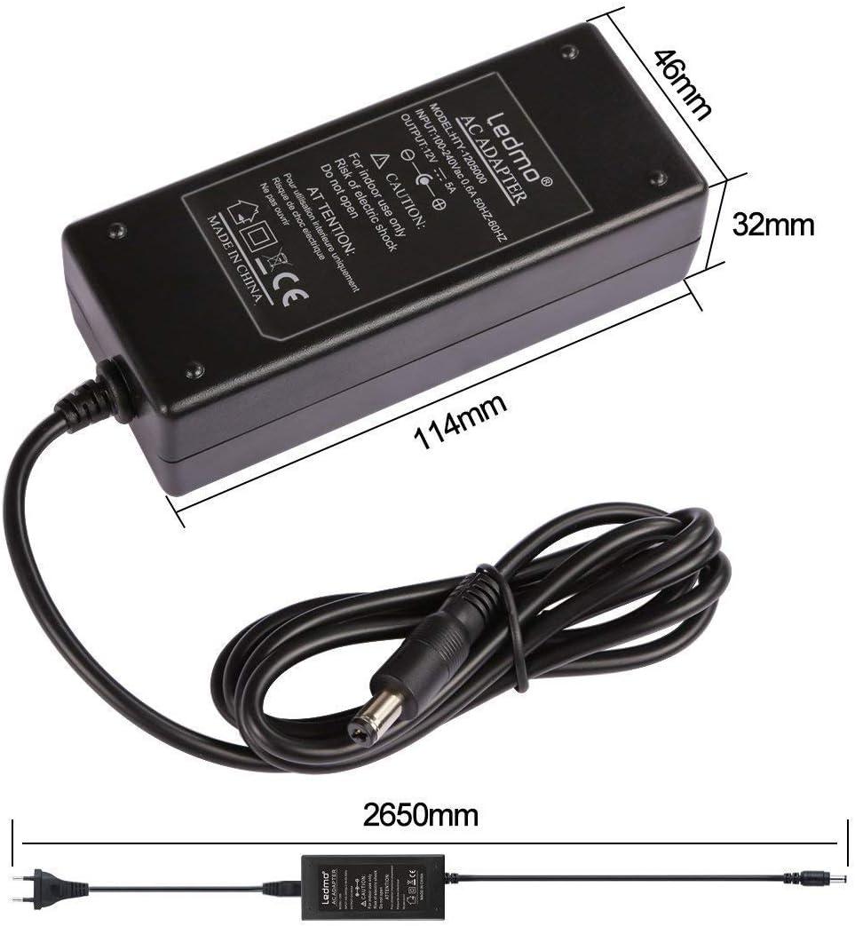 radio de coche etc. LEDMO Transformador 12v 5A Adaptador 60W Transformador Voltaje de entrada AC100-240V 5A 12V Fuente,Utilizado para tira de luz led