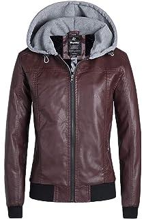 Amazon.com: Seamido - Chaqueta de piel sintética con capucha ...