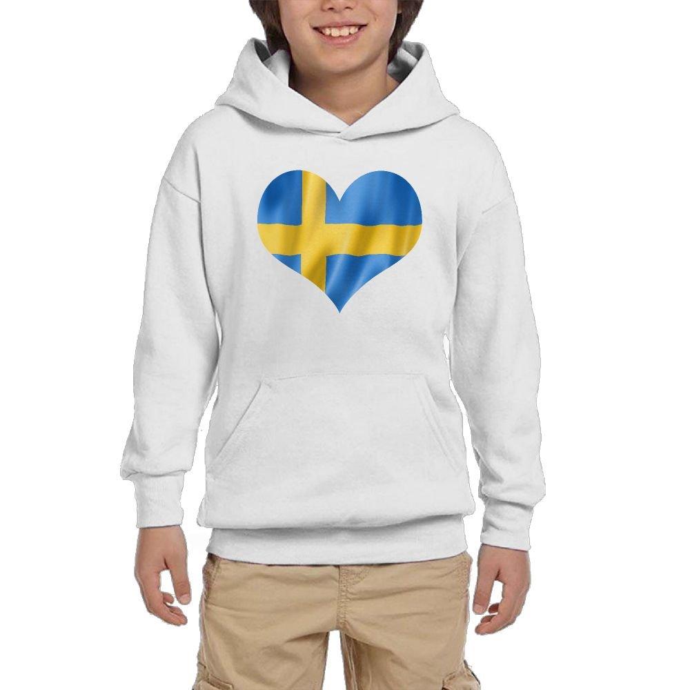 Swedish Flag Heart.PNG Youth Unisex Pullover Hoodies Unisex Sweatshirt