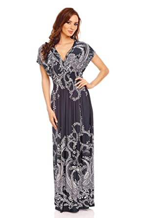 588b56df22ee9 Ladies Floral Animal Print Summer Beach Casual Holiday Maxi Day Dress Blue  UK 12-14