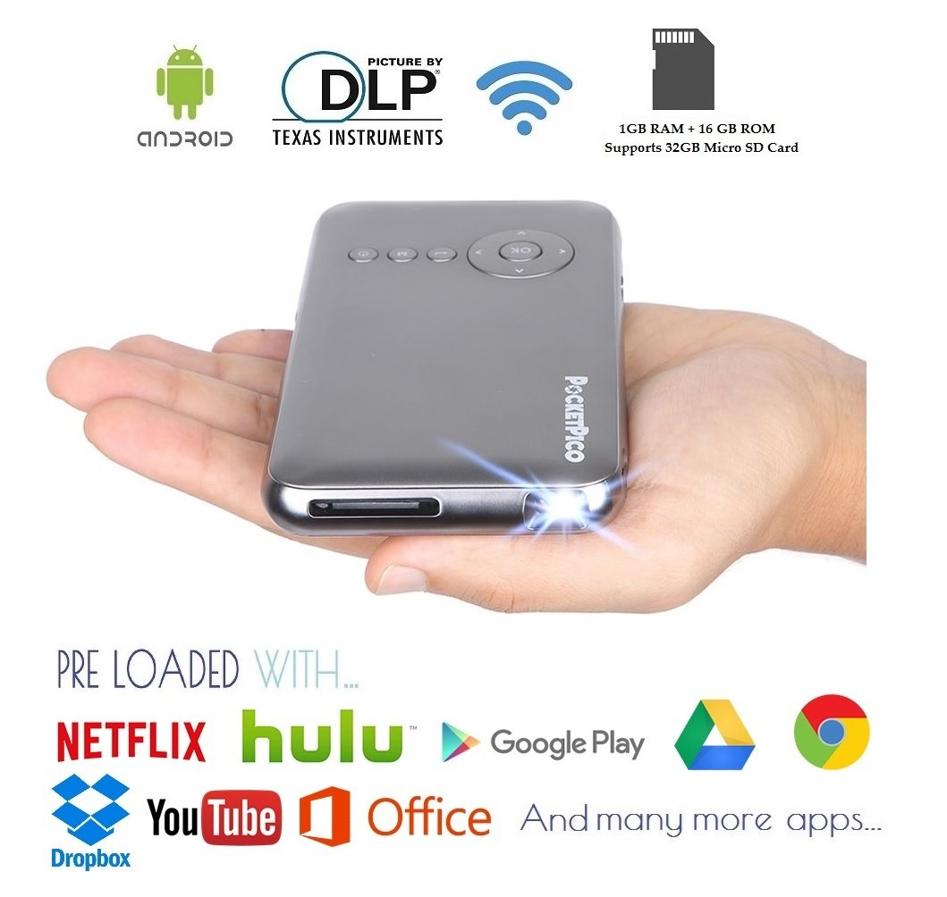 Pocket Pico Mobile Projector, Android Operating System, Netflix, Hulu, HBO & Google Play Store Apps, HDMI Input, Auto Keystone Correction, 100 Ansi Lumens, 5Ghz WiFi + Bluetooth 4.0 by PocketPico