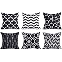 Top Finel Decorative Throw Pillow Covers for Couch Bed Soft Canvas Solid Cushion Covers, Pack of 6