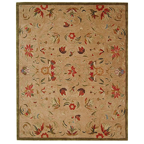 Safavieh Anatolia Collection AN525A Handmade Traditional Oriental Beige and Green Wool Area Rug (8' x 10') by Safavieh
