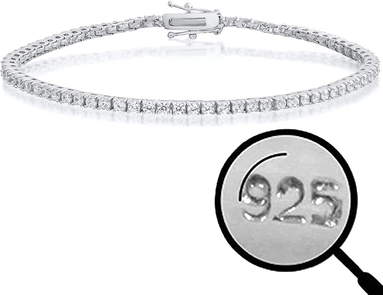 Thin /& Great For Classy Everyday Look 6-8.5 Iced Diamond One Row Bracelet Real Solid 925 Sterling Silver 2mm CZ Tennis Bracelet