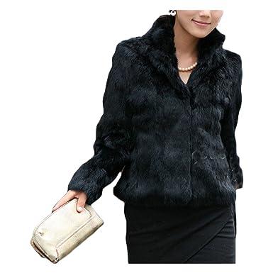b2e824c3b XWDA Rabbit Fur Coats Women Faux Fur Jacket Warm Solid Color ...