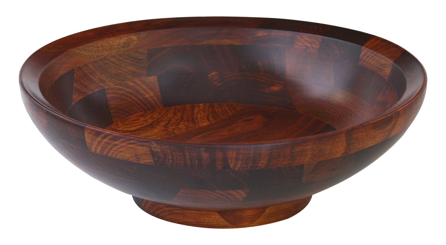 Mountain Woods CSBRI Bevelled Rim Wood Bowl with Cherry Finish, 15, Red Brown 15