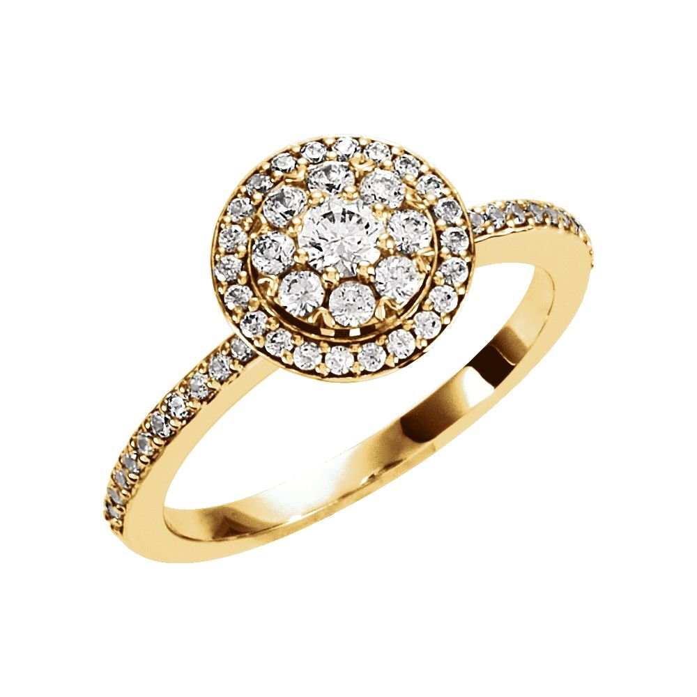 18k Yellow Gold 1/3 Ct Diamond Halo Cluster Top Engagement Ring