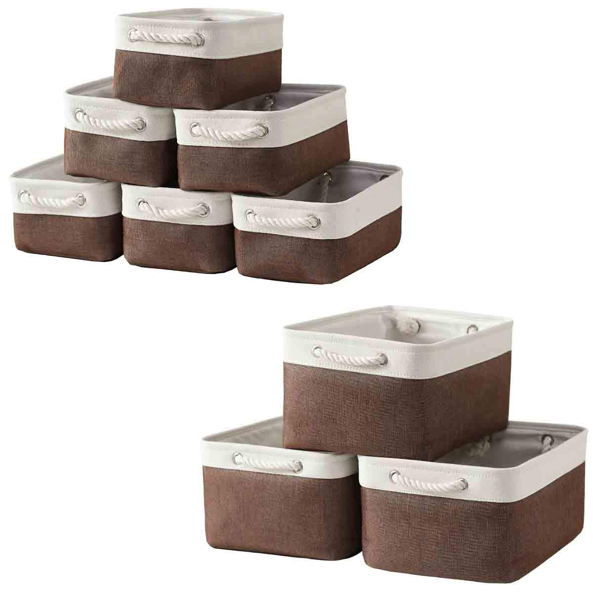 Sacyic Storage Baskets for Shelves, Fabric Baskets for Organizing, Collapsible Storage Bins for Closet, Nursery, Clothes, Toys, Home & Office [9-Pack, White&Brown]