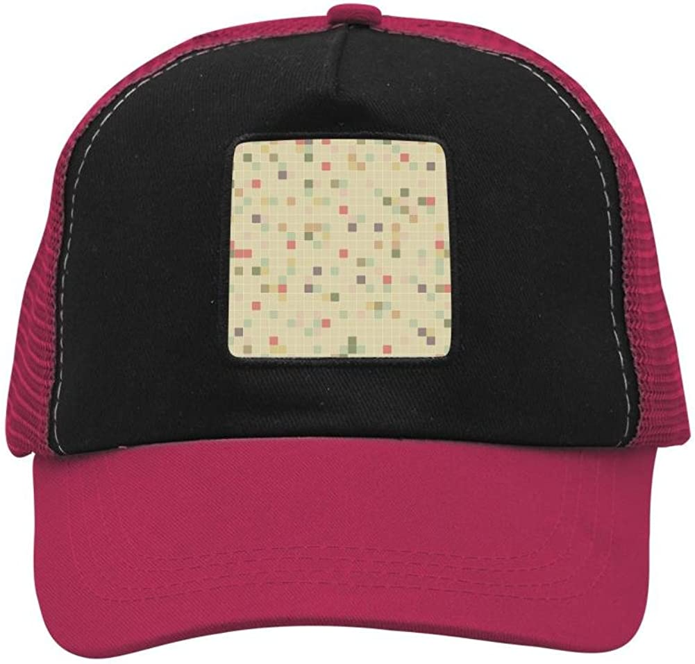 Adult Mesh Cap Hat Adjustable for Men Women Unisex,Print Fuzzy Lattice