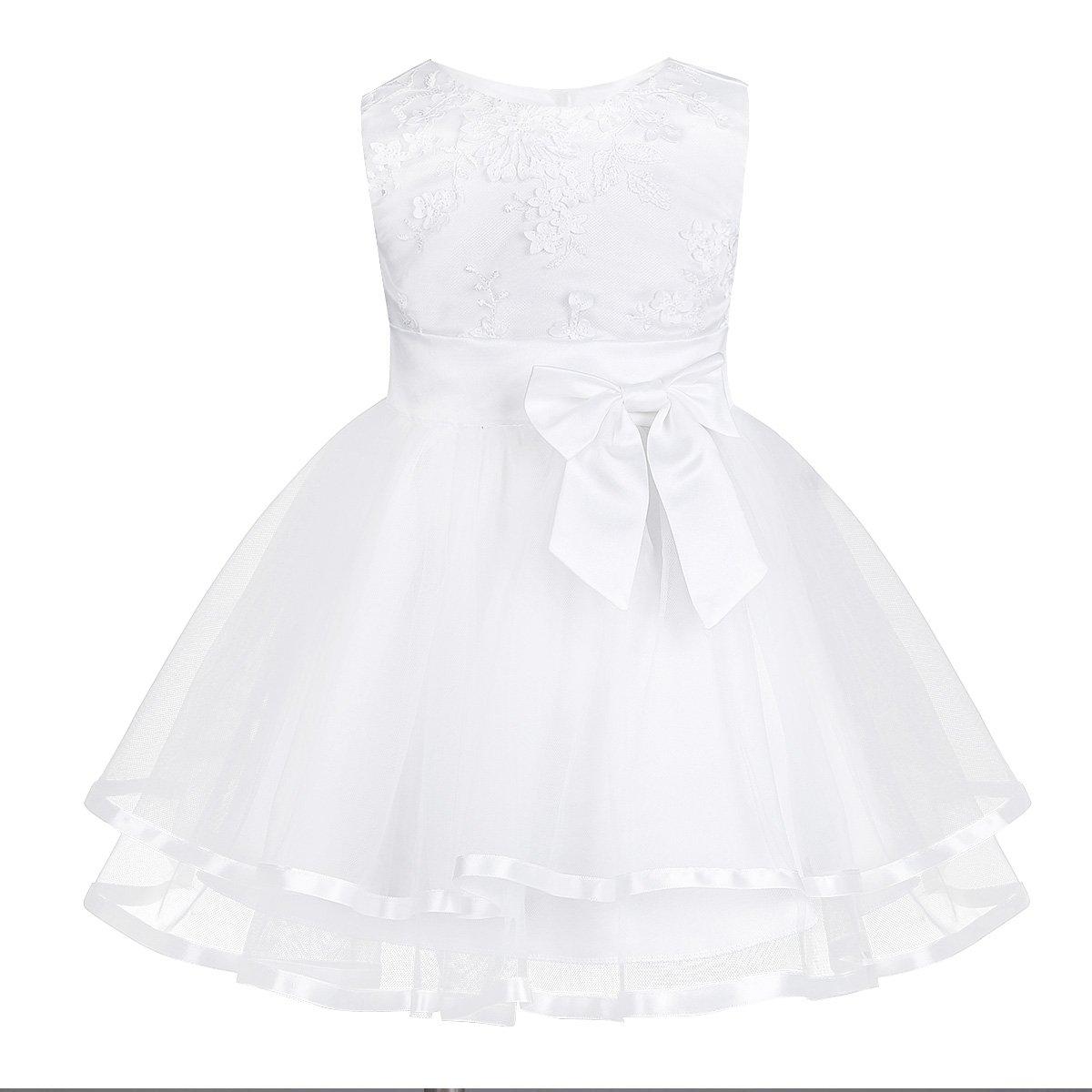 YIZYIF Vestido Blanco de Bautizo Fiesta Boda Ceremonia para Niñas Bebés 2PC Vestidos Infantil de Princesa Elegante: Amazon.es: Ropa y accesorios