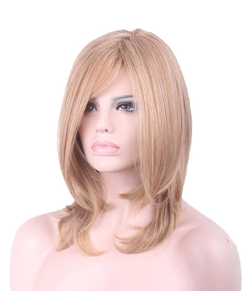 D2C Beauty Women's Short Straight 16' 40 cm Bob Hair Natural Cosplay Neat Bangs Wigs Gold D2COLOL-0069-Gold