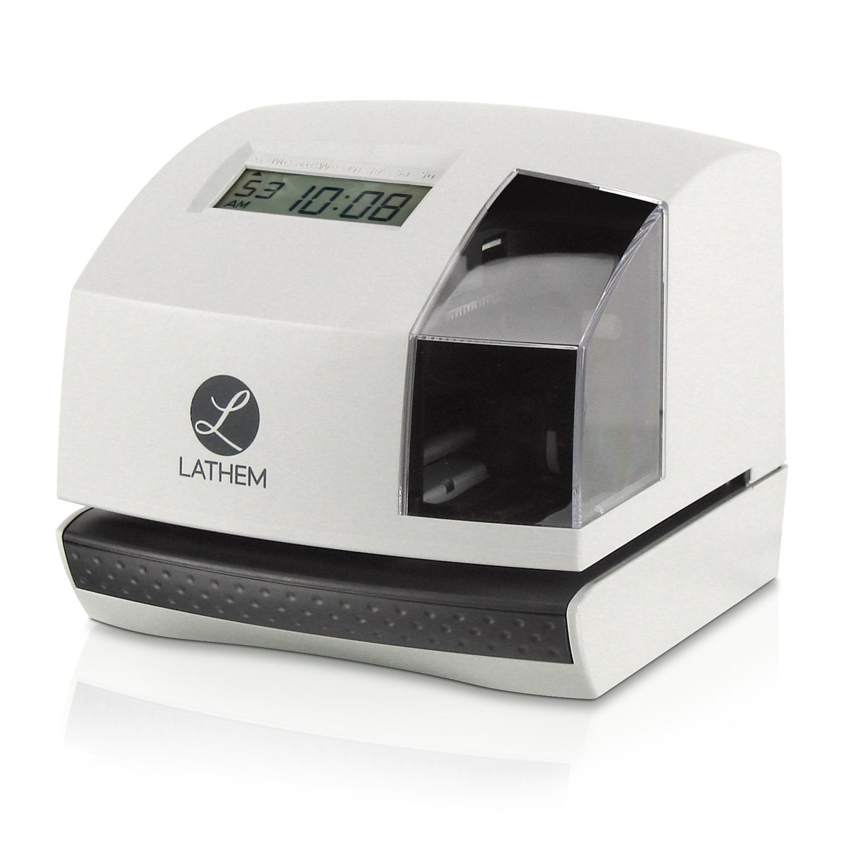 Lathem 100E Multi-Function Electronic Time Clock and Document Stamp, Can Be Mounted on Wall or Desk, Includes Key