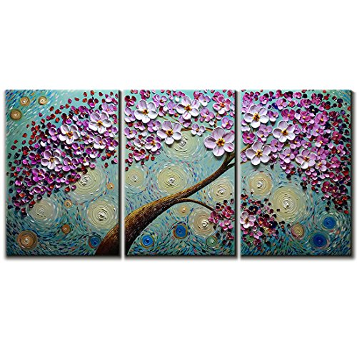 Bed Canvas Bedroom - V-inspire Art,16x24Inchx3 Hand-Painted Oil Paintings on Canvas Wall Art Blooming Life Abstract 3D Hand-Painted Flower Art Modern Home Decoration Abstract Artwork Art 3 Panels Wood Inside Framed Hangin