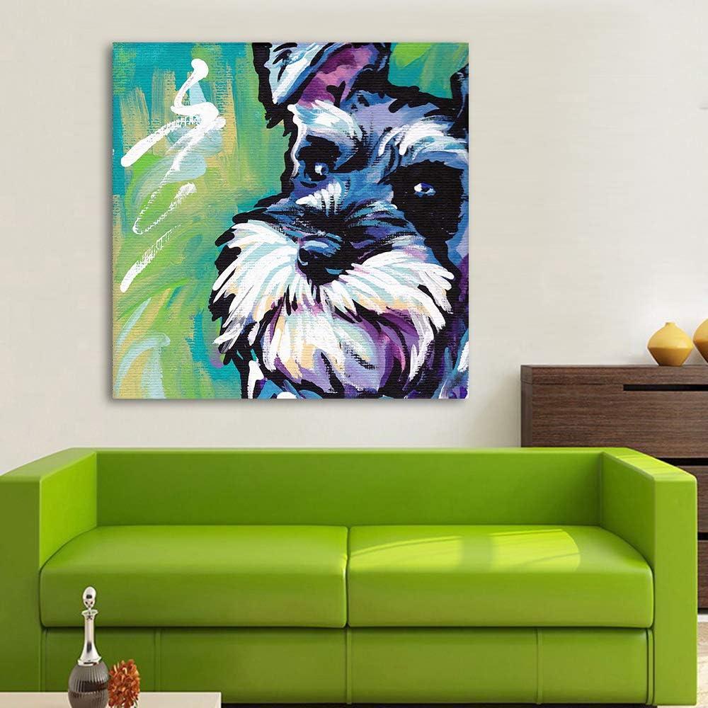 schnauzer at the cafe coffee  dog art print 11x14