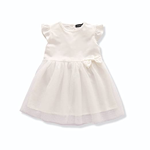 6715af6c5071 FERENYI US Baby Girls Clthes Baby Girl's Princess Dress White Cute Dresses  (13-18