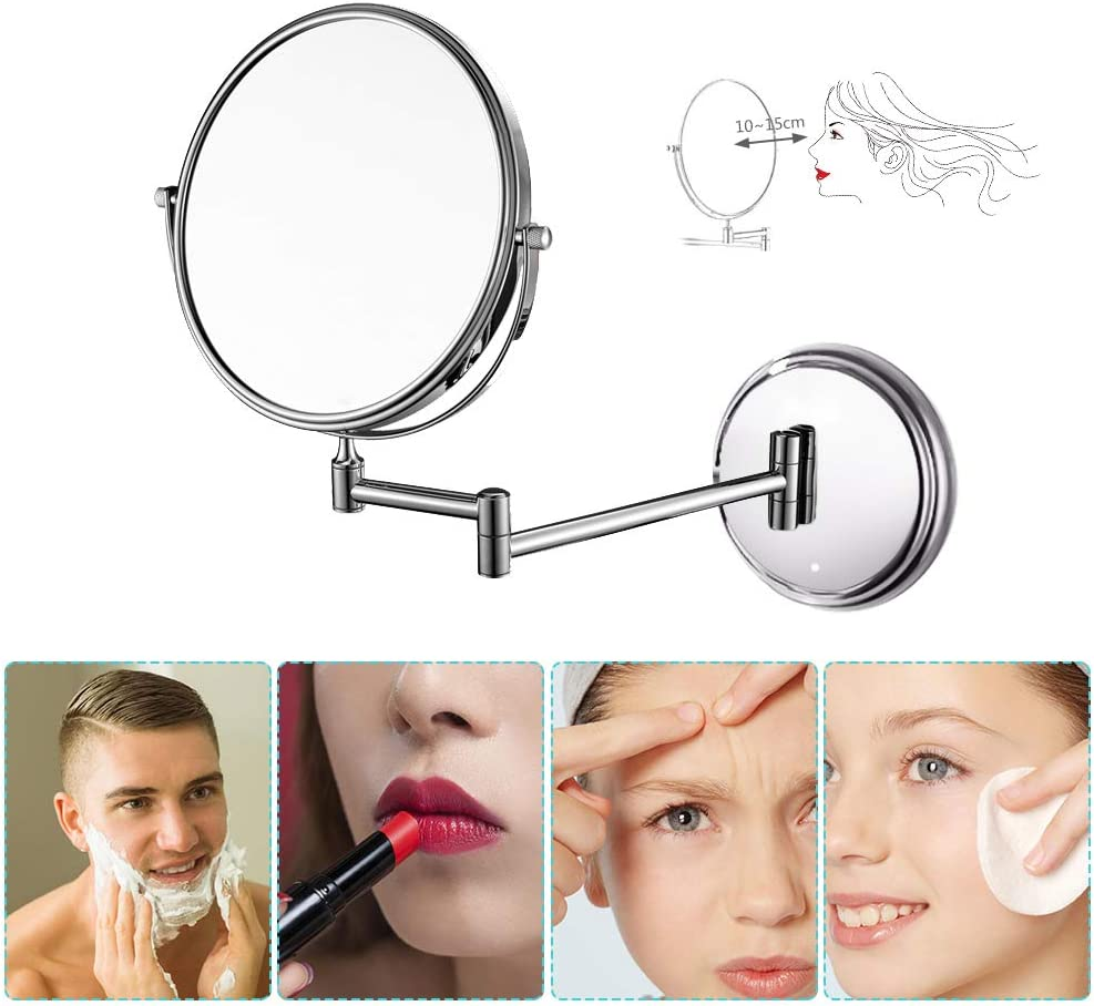 ZEHNHASE Wall Mounted Mirror Round 8 inch 1//5X Shaving Double Sided Makeup Mirrors Swivel Extendable and Chrome Finished