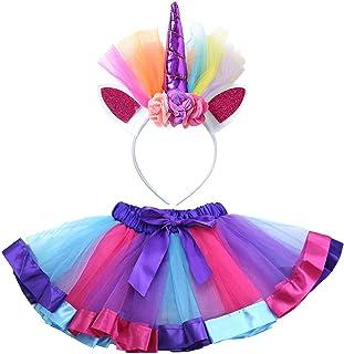 Amosfun Jupe Tutu Filles Rainbow Princess Dress Licorne Couvre-Chef Cadeaux de Licorne, Fournitures de fête de Licorne Anniversaire D'été pour Les Filles - Taille S (Violet Rose et Bleu) VAFZM522PJ017A104B