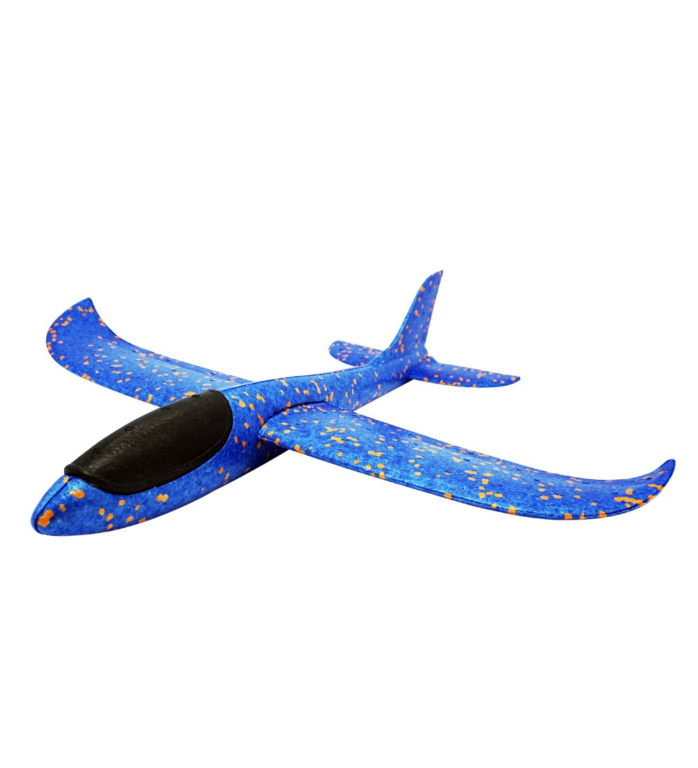 THREE EYES Environmental EPP Foam Glider Airplane 48cm Big Hand Throwing Plane Inertia Launch Roundabout Foam Trick Airplane Toys Funny Outdoor Playground Toys 18.9 inch (Camouflage Blue)