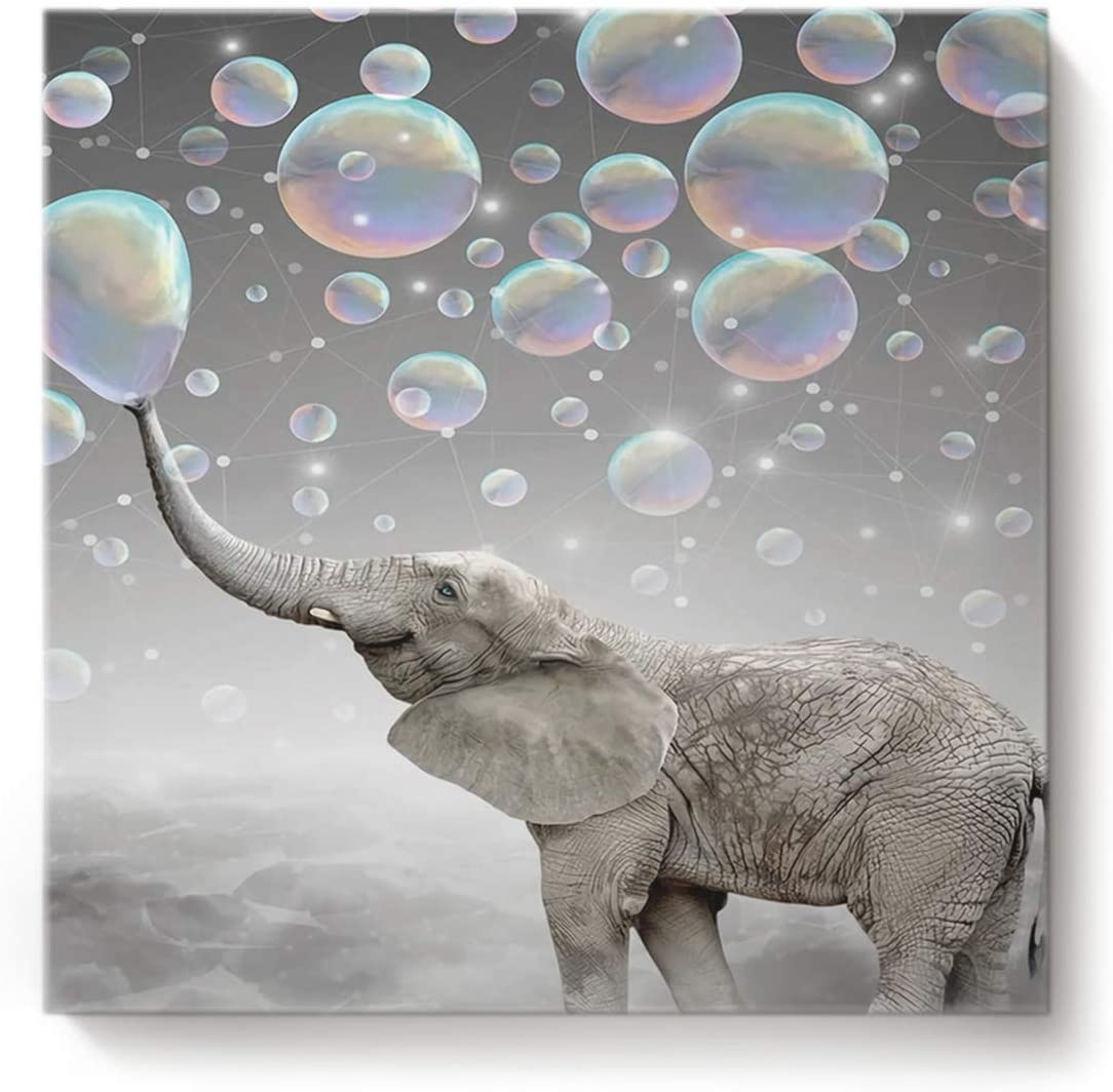 Square Canvas Wall Art Oil Painting for Bedroom Living Room Home Decor,Funny Elephant with Bubble Grey Pattern Office Artworks,Stretched by Wooden Frame,Ready to Hang,16 x 16 Inch