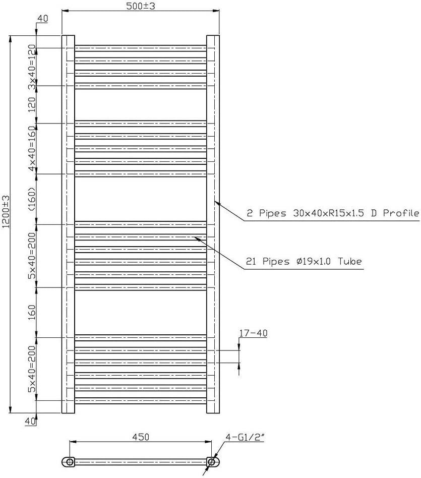 Phoenix Flavia Straight Steel Chrome Designer Heated Towel Rail 1500mm x 300mm Central Heating