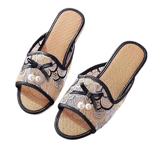 ee2754b7374 Zapatillas De Baño Planas Sandalias De Verano Zapatos De Ducha De Playa  Zapatillas Antideslizantes para Interiores Y Exteriores Lino De Goma para  Mujeres  ...