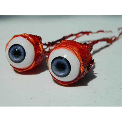 Pair of Realistic Life Size Bloody Ripped Out Eyeballs - Halloween Props - FB04 (Purple): Toys & Games