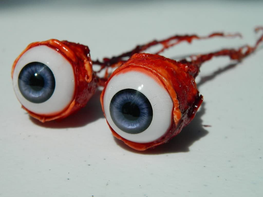 Pair of Realistic Life Size Bloody Ripped Out Eyeballs - Halloween Props - FB04 (Purple)