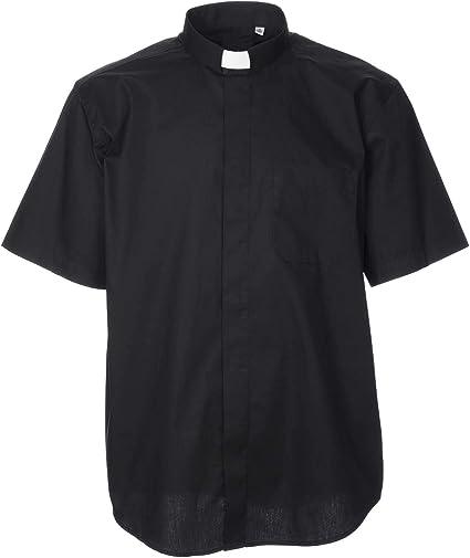 Holyart Stock Camisa Clergy de Popelina Manga Corta Negra, 37 cm (14.57 Inc.)