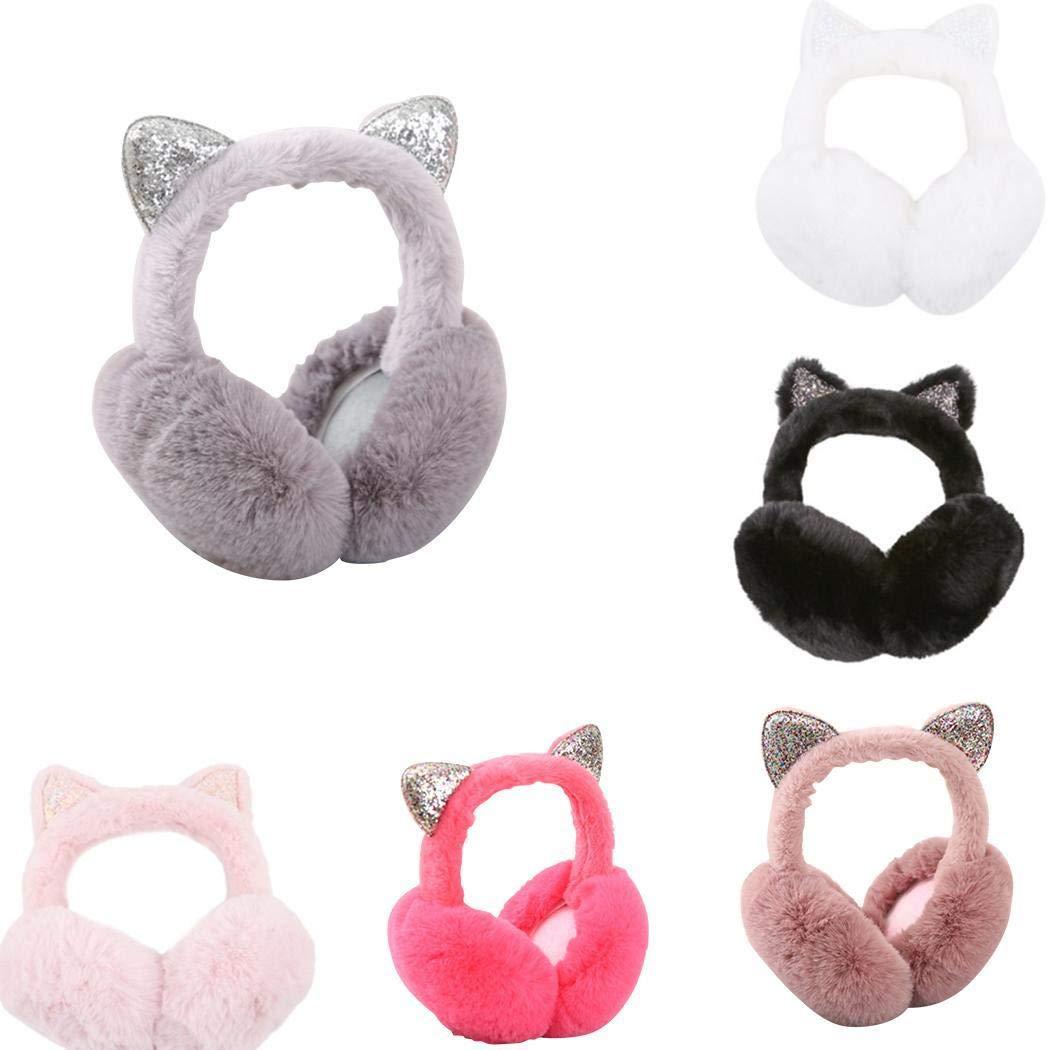 Kizaen Women Warm Ear Muffs Cartoon Cat Ears Design Windproof Soft Foldable Earmuffs Warmers