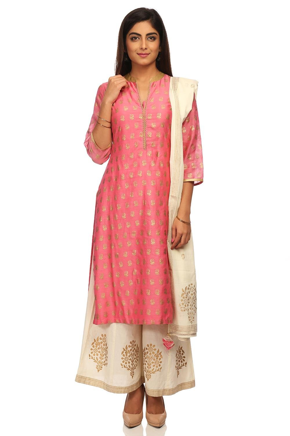 BIBA Women's Pink Straight Cotton Silk Suit Set Size 38
