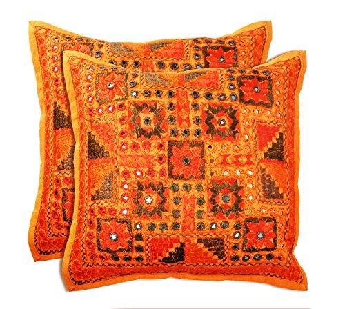 SmartHUG Handcrafted Mirror Work Cushion Cover Orange Set of 2